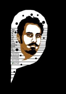 """پوستر نمایشگاه فرشید پارسی کیا با عنوان """" انسانهایی که در ذهن من پرسه می زنند"""""""