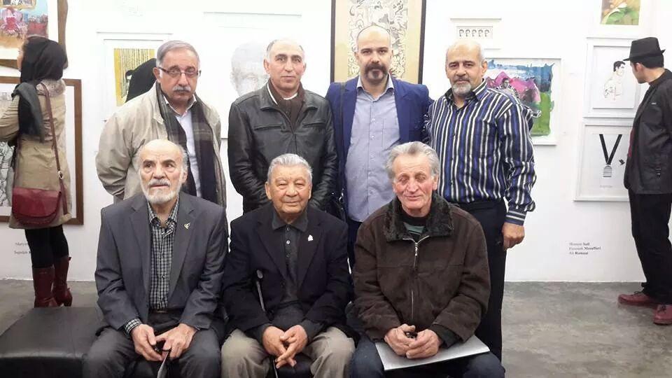جمعی از پیشکسوتان کشتی و جناب محمود ملاقاسمی قهرمان کشتی جهان و المپیک هلیسینکی