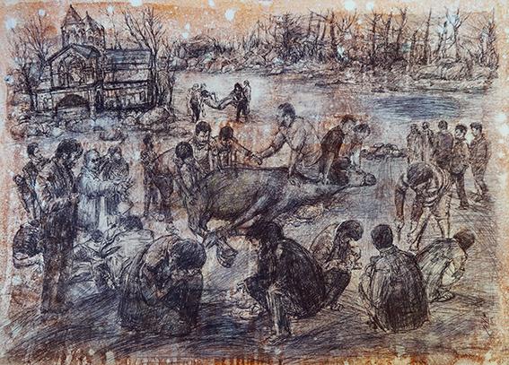 """اثر """"اسماعیل قنبری"""" در نمایشگاه """"چند روایت از یک انسان که با امواج ارس به دریا پیوست"""" به گردآورندگی آرش تنهایی"""